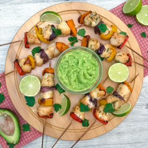 Chicken and Veggie Skewers with Avocado Dip