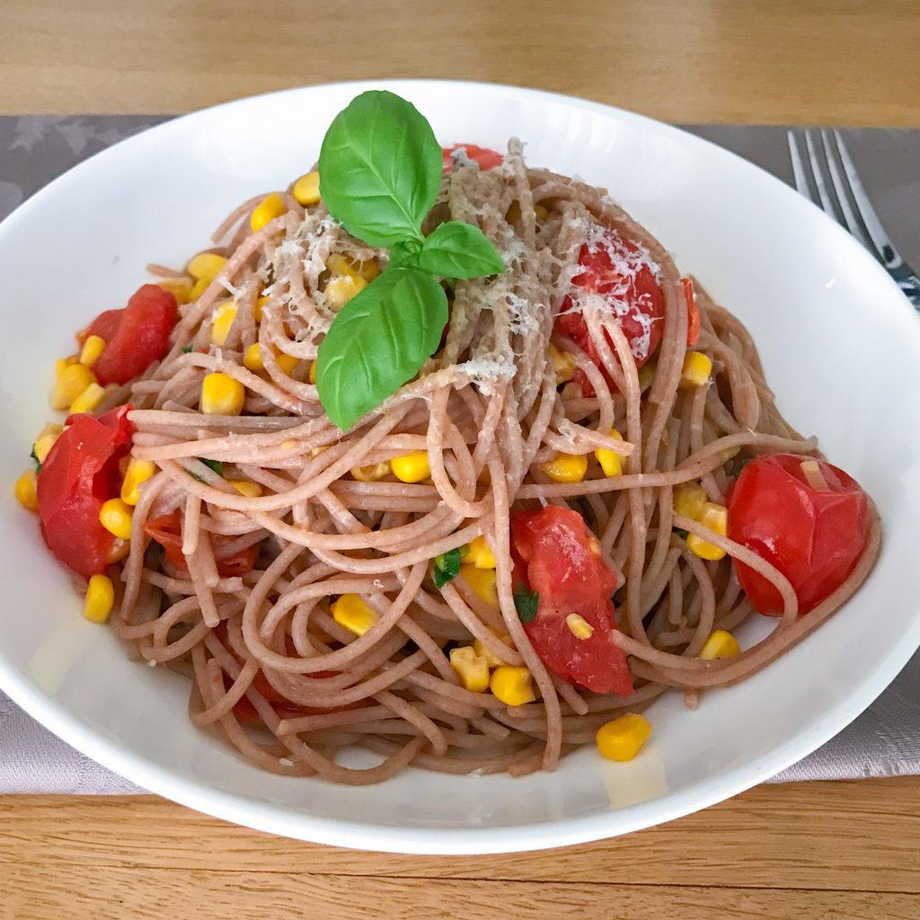 Spaghetti with Cherry Tomato and Corn