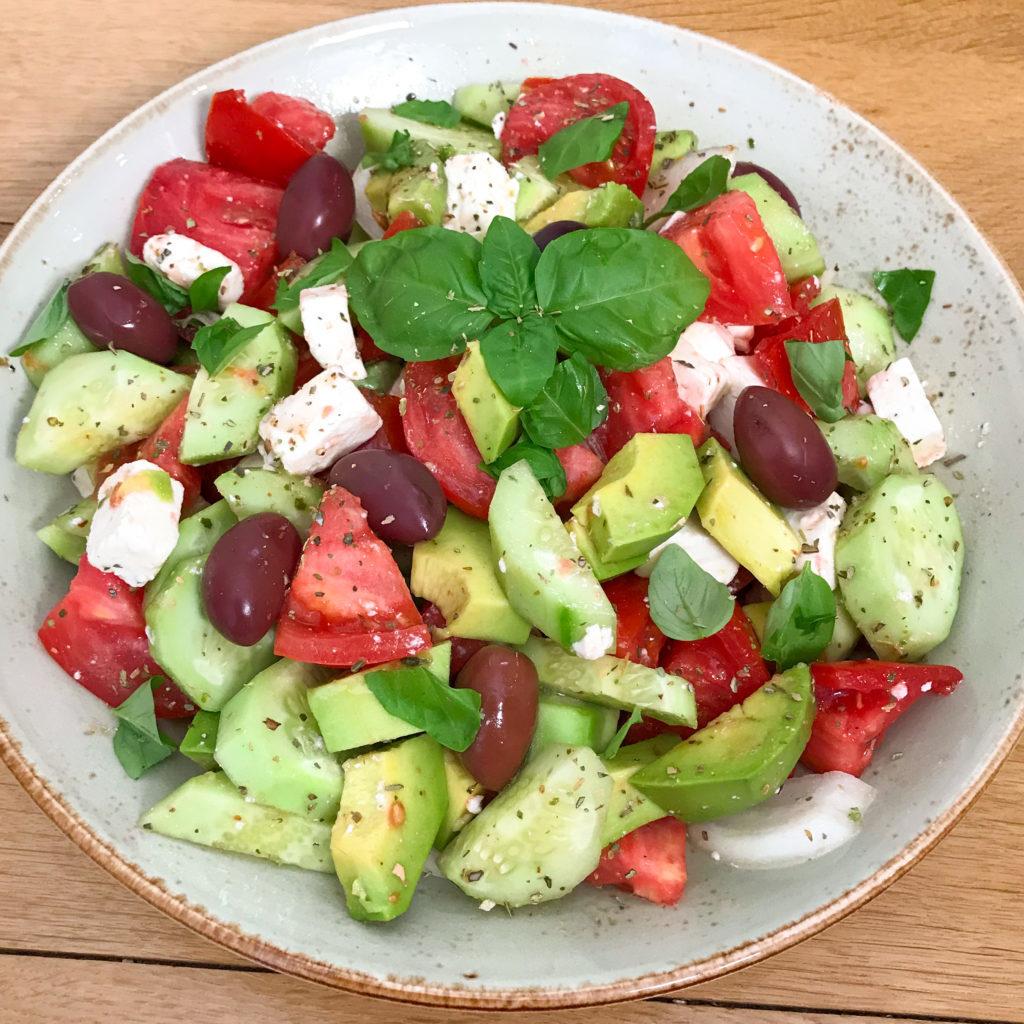 Greek Salad with Avocado and Fresh Basil